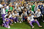 Real Madrid celebrate the winning of the Champions League during the UEFA Champions League Final match between Real Madrid and Juventus at the National Stadium of Wales, Cardiff, Wales on 3 June 2017. Photo by Giuseppe Maffia.<br /> <br /> Giuseppe Maffia/UK Sports Pics Ltd/Alterphotos
