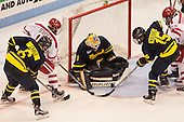Alex Carle (Merrimack - 6), Danny O'Regan (BU - 10), Collin Delia (Merrimack - 1), Jared Kolquist (Merrimack - 15), Jakob Forsbacka Karlsson (BU - 23) - The Boston University Terriers defeated the visiting Merrimack College Warriors 4-0 (EN) on Friday, January 29, 2016, at Agganis Arena in Boston, Massachusetts.