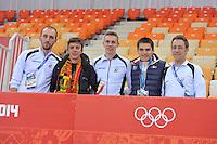 OLYMPICS: SOCHI: Adler Arena, 08-02-2014, Jelle Spruyt (trainer/coach), Maarten Swings, Bart Swings (BEL), Ewen Fernandez (FRA), Maarten Thysen (fysio), ©foto Martin de Jong