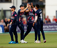 Imran Qayyum (R) is congratulated after taking the wicket of Sam Curran during Kent Spitfires vs Surrey, Vitality Blast T20 Cricket at the St Lawrence Ground on 23rd August 2019
