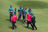 The umpires carry out their final inspection before abandoning the fixture between Pakistan vs Sri Lanka, ICC World Cup Cricket at the Bristol County Ground on 7th June 2019