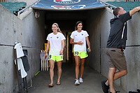 Cary, North Carolina  - Saturday August 05, 2017: Kristen McNabb and Katlyn Johnson prior to a regular season National Women's Soccer League (NWSL) match between the North Carolina Courage and the Seattle Reign FC at Sahlen's Stadium at WakeMed Soccer Park. The Courage won the game 1-0.