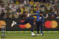 1st November 2019; Melbourne Cricket Ground, Melbourne, Victoria, Australia; International T20 Cricket, Australia versus Sri Lanka; Lahiru Kumara of Sri Lanka bowls - Editorial Use