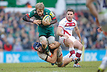Mathew Tait of Tigers evades a tackle from Josh Beaumont  and Joe Ford of Sale - Rugby Union - Aviva Premiership - Leicester Tigers vs Sale Sharks - Season 2014/15 - 28th February 2015 - Photo Malcolm Couzens/Sportimage