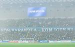 Stockholm 2015-08-24 Fotboll Allsvenskan Djurg&aring;rdens IF - Hammarby IF :  <br /> Vy &ouml;ver Tele2 Arena med r&ouml;k och en ljusskylt med texten Avspark uppskjuten inf&ouml;r matchen mellan Djurg&aring;rdens IF och Hammarby IF <br /> (Foto: Kenta J&ouml;nsson) Nyckelord:  Fotboll Allsvenskan Djurg&aring;rden DIF Tele2 Arena Hammarby HIF Bajen inomhus interi&ouml;r interior supporter fans publik supporters r&ouml;k bengal bengaler