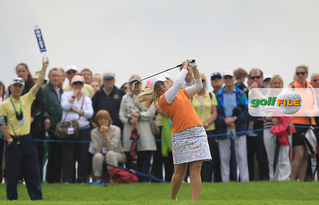 Bronte Law on the 16th tee during the Saturday Mourning Foursomes of the 2016 Curtis Cup at Dun Laoghaire Golf Club on Saturday 11th June 2016.<br /> Picture:  Golffile | Thos Caffrey