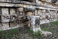 "Western façade of the Codz Poop (""Rolled-up matting"" in Maya), detail of a stair for the entrance shaped like a mask of Chaac, the big-nosed god of rain, Puuc Architecture, 700-900 AD, Kabah, Yucatan, Mexico. Picture by Manuel Cohen"