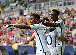 England's Tammy Abraham celebrates scoring his sides second goal during the UEFA Under 21 Semi Final at the Stadion Miejski Tychy in Tychy. Picture date 27th June 2017. Picture credit should read: David Klein/Sportimage