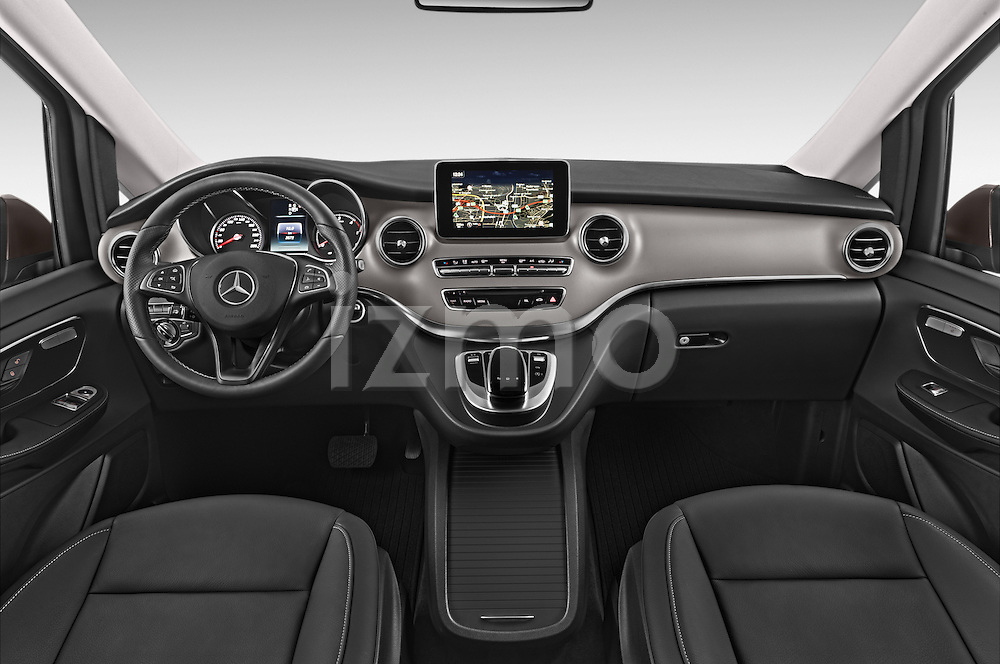 Stock photo of straight dashboard view of a 2015 Mercedes Benz V-CLASS AVANTGARDE 5 Door Minivan 2WD Dashboard