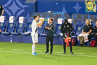 CARSON, CA - SEPTEMBER 15: Zlatan Ibrahimovic #9 and Manager Guillermo Barros of the Los Angeles Galaxy exchange a few words during a game between Sporting Kansas City and Los Angeles Galaxy at Dignity Health Sports Complex on September 15, 2019 in Carson, California.