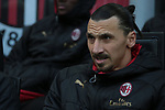 Zlatan Ibrahimovic of AC Milan pictured on the bench before the Serie A match at Giuseppe Meazza, Milan. Picture date: 6th January 2020. Picture credit should read: Jonathan Moscrop/Sportimage