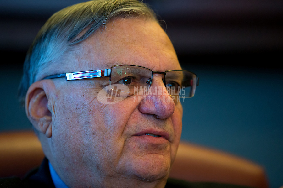 Jan 21, 2015; Phoenix, AZ, USA; Maricopa County sheriff Joe Arpaio in his office in downtown Phoenix. Mandatory Credit: Mark J. Rebilas-