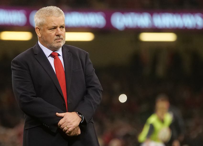 Wales' Head Coach Warren Gatland during the pre match warm up<br /> <br /> Photographer Ian Cook/CameraSport<br /> <br /> Under Armour Series Autumn Internationals - Wales v South Africa - Saturday 24th November 2018 - Principality Stadium - Cardiff<br /> <br /> World Copyright © 2018 CameraSport. All rights reserved. 43 Linden Ave. Countesthorpe. Leicester. England. LE8 5PG - Tel: +44 (0) 116 277 4147 - admin@camerasport.com - www.camerasport.com
