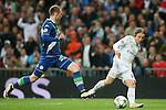 Real Madrid's Luka Modric (r) and WfL Wolfsburg's Maximilian Arnold during Champions League 2015/2016 Quarter-finals 2nd leg match. April 12,2016. (ALTERPHOTOS/Acero)