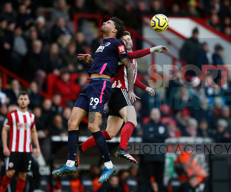 Philip Billing of Bournemouth challenged by Oliver Norwood of Sheffield Utd during the Premier League match at Bramall Lane, Sheffield. Picture date: 9th February 2020. Picture credit should read: Simon Bellis/Sportimage