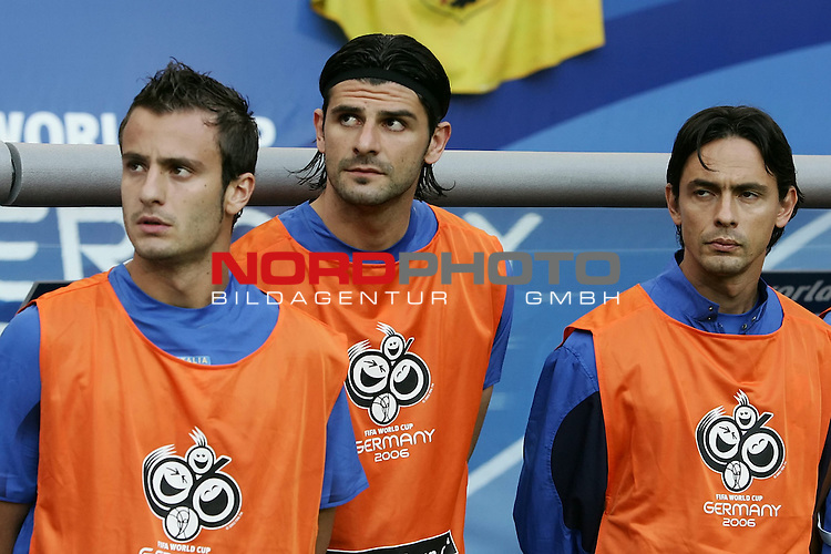 FIFA WM 2006 -  Viertelfinale <br /> Play    #58 (26-Jun) - Italien - Ukraine<br /> <br /> Auswechselbank Italien GILARDINO Alberto,  IAQUINTA Vincenzo, INZAGHI Filippo<br /> <br /> Foto &copy; nordphoto