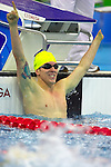 Rick Pendleton (AUS) shows his elation at winning the men's 200m IM (SM10) final, breaking the world record in a time of 2:12.78..Beijing Paralympic Games, 11 September 2008