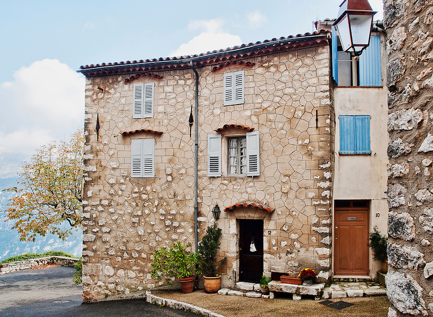 A house in the Côte d'Azur village of Gourdon, poised at the edge of a cliff overlooking the Gorges du Loup.