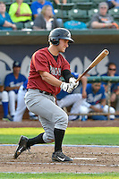 Joe Dudek (34) of the Idaho Falls Chukars  follows through on his swing against the Ogden Raptors during the Pacific Coast League game at Smith's Ballpark on August 29, 2016 in Salt Lake City, Utah. The Chukars defeated the Raptors 3-0. (Stephen Smith/Four Seam Images)