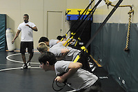The Harker School - MS - Middle School - TRX training for MS Wrestling team; TRX photos for Summer Sports Camp Program - Photo by Kyle Cavallaro