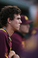 Colby Woodmansee #37 of the Arizona State Sun Devils during a game against the UCLA Bruins at Jackie Robinson Stadium on March 28, 2014 in Los Angeles, California. UCLA defeated Arizona State 7-3. (Larry Goren/Four Seam Images)