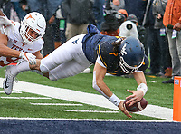Morgantown, WV - November 18, 2017: West Virginia Mountaineers quarterback Will Grier (7) fumbles the ball at the goal line during game between Texas and WVU at  Mountaineer Field at Milan Puskar Stadium in Morgantown, WV.  (Photo by Elliott Brown/Media Images International)