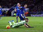 Manchester City's Sergio Aguero goes down under the challenge of Leicester's Gokhan Inler but no penalty is given<br /> <br /> Barclays Premier League- Leicester City vs Manchester City - King Power Stadium - England - 29th December 2015 - Picture - David Klein/Sportimage