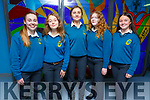 Clara Carroll, Sarah Lostal-Davern, Rachel O'Donnell, Caoimhe Doyle and Emma Greaney attending the Careers night in Mercy Mounthawk on Thursday night.