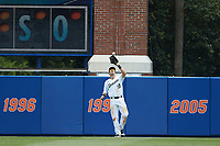 Wake Forest Demon Deacons right fielder Keegan Maronpot (13) settles under a fly ball during the game against the Florida Gators in the completion of Game Two of the Gainesville Super Regional of the 2017 College World Series at Alfred McKethan Stadium at Perry Field on June 12, 2017 in Gainesville, Florida. The Demon Deacons walked off the Gators 8-6 in 11 innings. (Brian Westerholt/Four Seam Images)