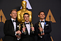 Justin Hurwitz, Benji Pasek &amp; Justin Paul in the photo room at the 89th Annual Academy Awards at Dolby Theatre, Los Angeles, USA 26 February  2017<br /> Picture: Paul Smith/Featureflash/SilverHub 0208 004 5359 sales@silverhubmedia.com