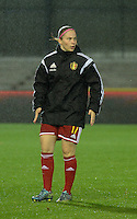 20151130 - LEUVEN ,  BELGIUM : Belgian Jana Coryn pictured during the female soccer game between the Belgian Red Flames and Serbia , the third game in the qualification for the European Championship in The Netherlands 2017  , Monday 30 November 2015 at Stadion Den Dreef  in Leuven , Belgium. PHOTO DIRK VUYLSTEKE