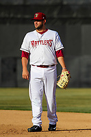 Wisconsin Timber Rattlers first baseman Ronnie Gideon (25) during a Midwest League game against the Quad Cities River Bandits on April 8, 2017 at Fox Cities Stadium in Appleton, Wisconsin.  Wisconsin defeated Quad Cities 3-2. (Brad Krause/Four Seam Images)