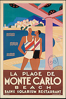 BNPS.co.uk (01202 558833)<br /> Pic: SwannGalleries/BNPS<br /> <br /> ***Please Use Full Byline***<br /> <br /> Monte Carlo in 1929 - &pound;6000<br /> <br /> Beautiful posters from the halcyon days of travel up for auction.<br /> <br /> Scarce vintage travel posters promoting holidays across the globe in the 1920's and 30's are tipped to sell for over &pound;200,000 .<br /> <br /> The fine collection of 200 works of art that hark back to the halcyon days of train and boat travel have been brought together for sale.<br /> <br /> The posters were used to advertise dream holiday destinations in far-flung places such as the US and Australia and to celebrate the luxurious ways of getting to them.<br /> <br /> Most of the advertising posters date back to the 1930s and are Art Deco in style and they are all from the original print-run.