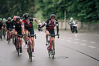 peloton-pilot Michael Schar (SUI/BMC) getting handed a bidon by Tejay van Garderen (USA/BMC)<br /> <br /> Stage 4: Gansingen &gt; Gstaad (189km)<br /> 82nd Tour de Suisse 2018 (2.UWT)