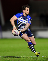 Danny Cipriani of Sale Sharks looks to pass the ball. European Rugby Challenge Cup quarter final, between Sale Sharks and Montpellier on April 8, 2016 at the AJ Bell Stadium in Manchester, England. Photo by: Patrick Khachfe / JMP