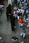 Participants run in front of Valdefresno's bulls during the bull run of the San Fermin Festival, on July 9, 2013, in Pamplona, northern Spain. (c) Pedro ARMESTRE