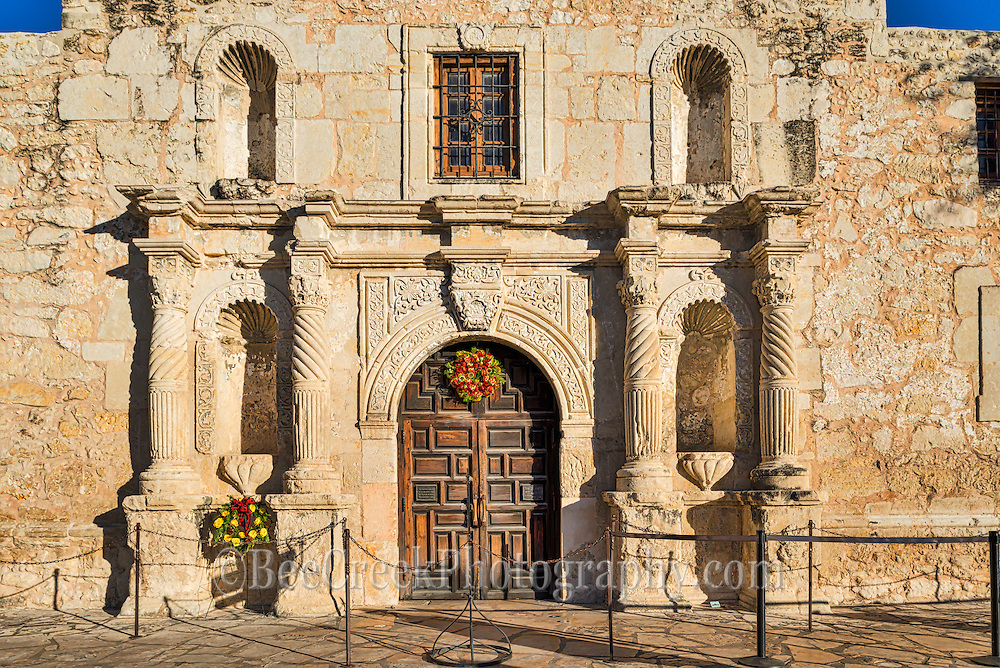 The Alamo up close with the door and the details of the front structure.