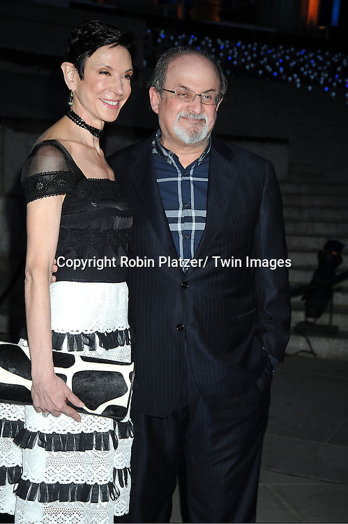 Amy Fine Collins and Salmon Rushdie  arrive at The Vanity Fair Tribeca Film Festival Party at The State Supreme Courthouse at 60 Centre Street on April 17, 2012 in New York City.