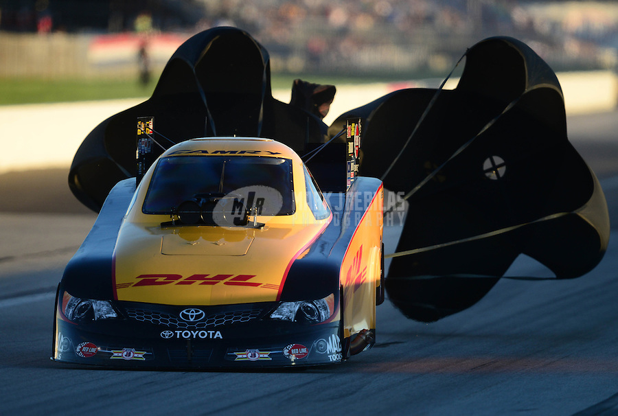 Sept 8, 2012; Clermont, IN, USA: NHRA funny car driver Jeff Arend during qualifying for the US Nationals at Lucas Oil Raceway. Mandatory Credit: Mark J. Rebilas-