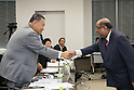 (L-R) Yoshiro Mori, N Ramachandran, AUGUST 7, 2015 : The Tokyo 2020 Organising Committee interviews members of the World Squash Federation (WSF), as it considers new events for inclusion in the 2020 Tokyo Olympic Games, Tokyo, Japan. (Photo by Uta MUKUO/Tokyo2020/AFLO)