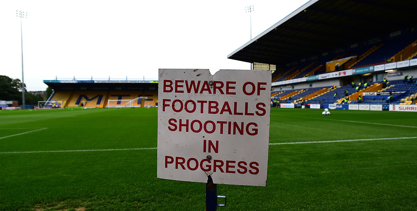 A general view of Field Mill, home of Mansfield Town FC<br /> <br /> Photographer Andrew Vaughan/CameraSport<br /> <br /> The EFL Checkatrade Trophy - Mansfield Town v Lincoln City - Tuesday 29th August 2017 - Field Mill - Mansfield<br />  <br /> World Copyright &copy; 2018 CameraSport. All rights reserved. 43 Linden Ave. Countesthorpe. Leicester. England. LE8 5PG - Tel: +44 (0) 116 277 4147 - admin@camerasport.com - www.camerasport.com