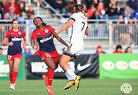 Boyds, MD - Saturday May 07, 2016: Washington Spirit forward Crystal Dunn (19) crashes into Portland Thorns FC midfielder Lindsey Horan (7) during a regular season National Women's Soccer League (NWSL) match at Maureen Hendricks Field, Maryland SoccerPlex. Washington Spirit tied the Portland Thorns 0-0.