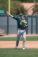 Oakland Athletics third baseman William Toffey (53) makes a throw to first base during an Extended Spring Training game against the San Francisco Giants Orange at the Lew Wolff Training Complex on May 29, 2018 in Mesa, Arizona. (Zachary Lucy/Four Seam Images)