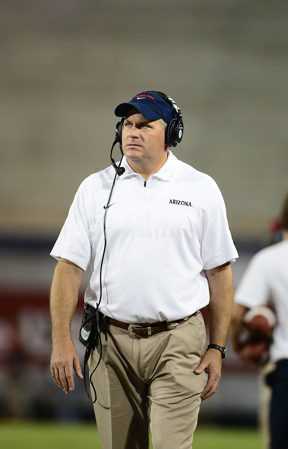 Oct. 20, 2012; Tempe, AZ, USA; Arizona Wildcats head coach Rich Rodriguez on the sidelines in the second half against the Washington Huskies at Arizona Stadium. Arizona defeated Washington 52-17. Mandatory Credit: Mark J. Rebilas-