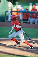 Torii Hunter (2) of the Orem Owlz bats against the Ogden Raptors in Pioneer League action at Lindquist Field on June 27, 2017 in Ogden, Utah. Ogden defeated Orem 14-5. (Stephen Smith/Four Seam Images)