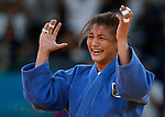 LONDON, ENGLAND - JULY 28:  Sarah Menezes of Brazil celebrates winning the gold medal in the women's Judo Final during Day 2 of the Swimming Finals as part of the London 2012 Olympic Games on July 28, 2012 at the Excel Center in London, England. (Photo by Donald Miralle)