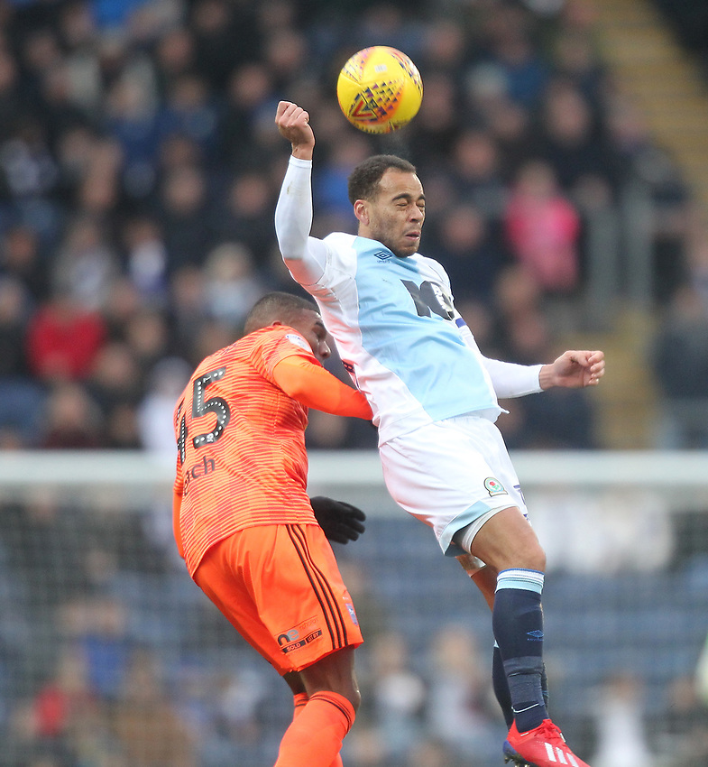 Blackburn Rovers Elliott Bennett in action with Ipswich Town's Callum Elder<br /> <br /> Photographer Mick Walker/CameraSport<br /> <br /> The EFL Sky Bet Championship - Blackburn Rovers v Ipswich Town - Saturday 19 January 2019 - Ewood Park - Blackburn<br /> <br /> World Copyright © 2019 CameraSport. All rights reserved. 43 Linden Ave. Countesthorpe. Leicester. England. LE8 5PG - Tel: +44 (0) 116 277 4147 - admin@camerasport.com - www.camerasport.com