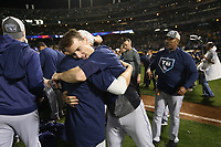 OAKLAND, CA - OCTOBER 02:  Matt Duffy #5 of the Tampa Bay Rays celebrates on the field after the American League Wild Card Game against the Oakland Athletics at RingCentral Coliseum on Wednesday, October 2, 2019 in Oakland, California. (Photo by Brad Mangin)
