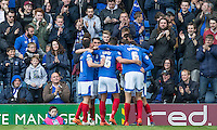 Celebrations following Portsmouth's goal making it 1 0 during the Sky Bet League 2 match between Portsmouth and Wycombe Wanderers at Fratton Park, Portsmouth, England on 23 April 2016. Photo by Andy Rowland.