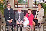 Pictured at the christening of Baby Melanie Sheehan in the Devon Inn Hotel, Templeglantine on Sunday were L-R: John Miller, godfather, Connagh, John Sheehan, father, Baby Melanie Sheehan, Shirley Sheehan, mother,  and Eleanor O'Sullivan, godmother, Templeglantine.  Christening was held at Saint Mary's Church, Rathkeale at 11.15am by Rev. Keith Scott.
